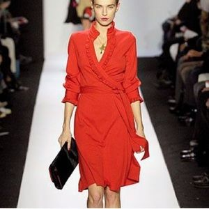 Diane Von Furstenberg Crimson Wool Wrap Dress